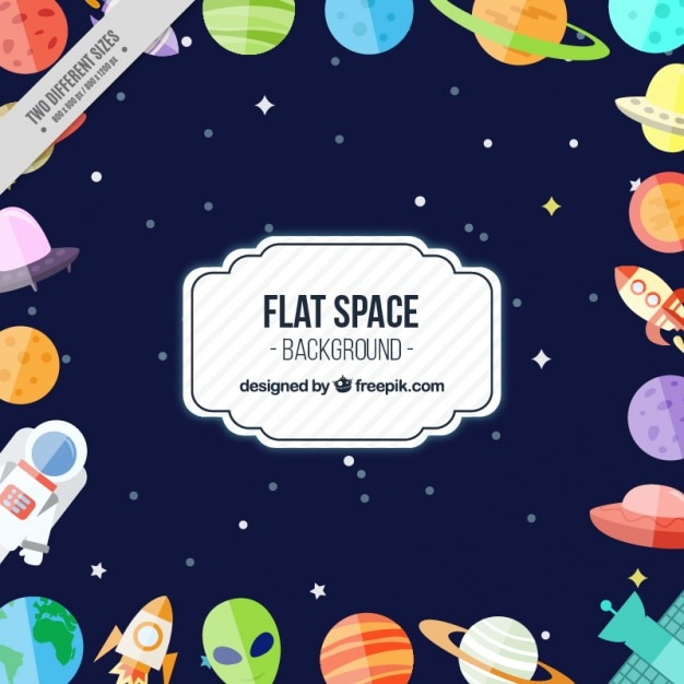 Funny flat space background vector free download for Outer space industrial design