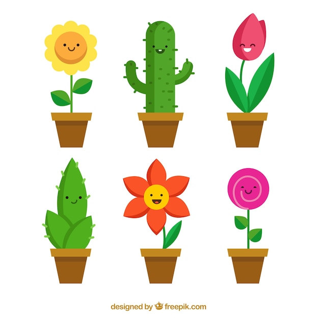 Funny flowerpots collection Free Vector