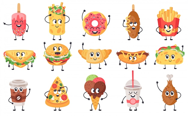 Funny food mascots. cute doodle junk food mascot, fast food with faces, happy cheeseburger, pizza and croissant  illustration icons set. sandwich and snack with face cute, unhealthy meal Premium Vector