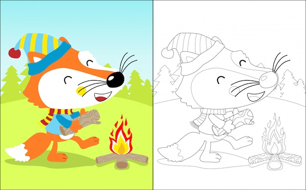 Funny fox cartoon with bonfire Premium Vector
