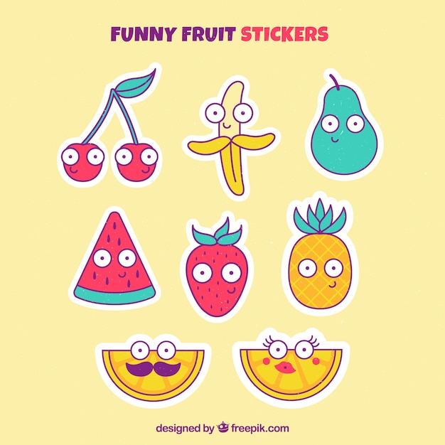 Funny fruit sticker collection