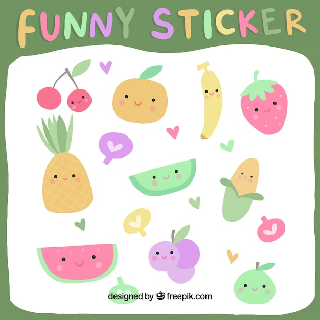 Funny fruit stickers with hand drawn style