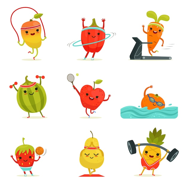 Funny fruits make fitness exercises Premium Vector