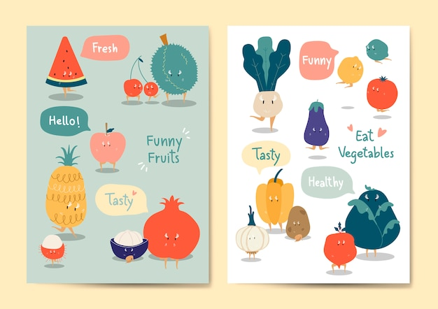 Funny fruits and vegetables vector set Free Vector