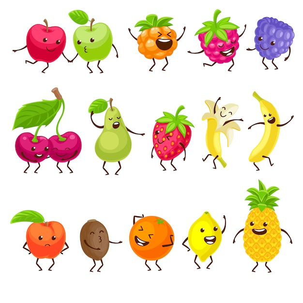 Funny fruits with faces set. Premium Vector