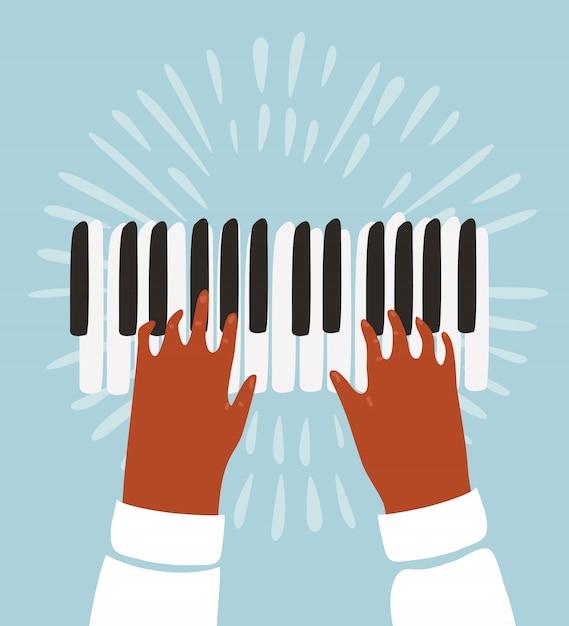 Забавная фанк иллюстрация двух рук играет на клавишах пианино Premium векторы