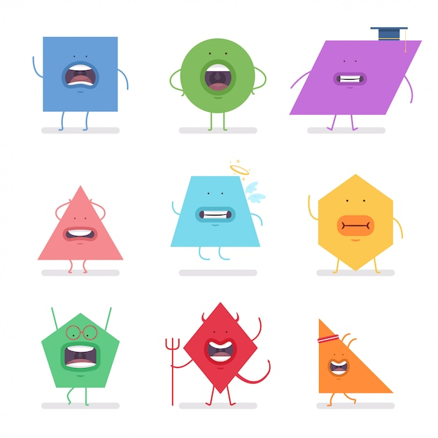 Funny geometric shapes vector cartoon character set isolated on white background. Premium Vector