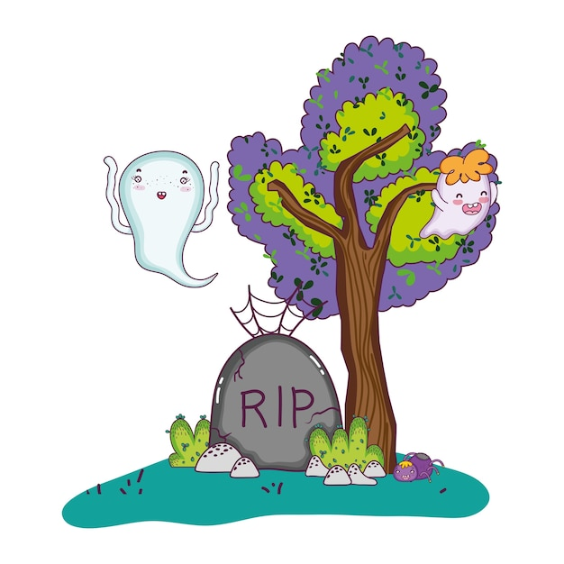 Funny ghost with rip stone and spider Premium Vector
