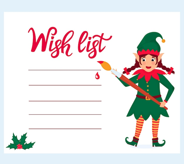 Funny girl elf with a paint brush writes a wish list. Premium Vector