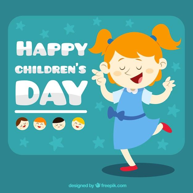 Funny girl illustration fo children\'s\ day