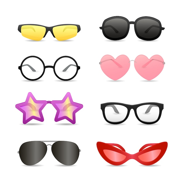 Funny glasses of different shapes Free Vector