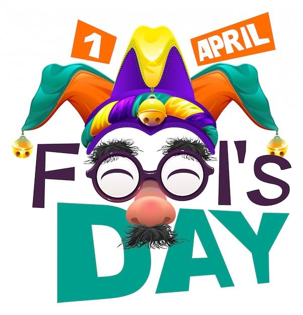 Смешные очки носа. апрельский день дураков текст надписи для поздравительной открытки. 1 апреля, день дурака Premium векторы