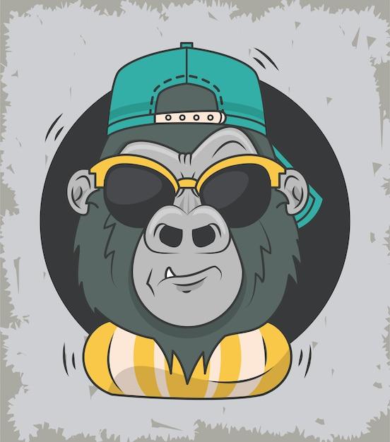 Смешная горилла с солнцезащитными очками классного стиля Premium векторы