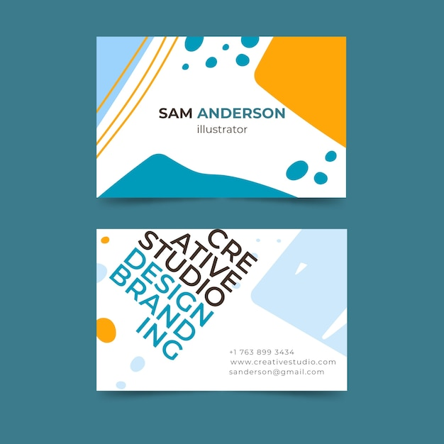 Funny graphic designer business card concept Free Vector