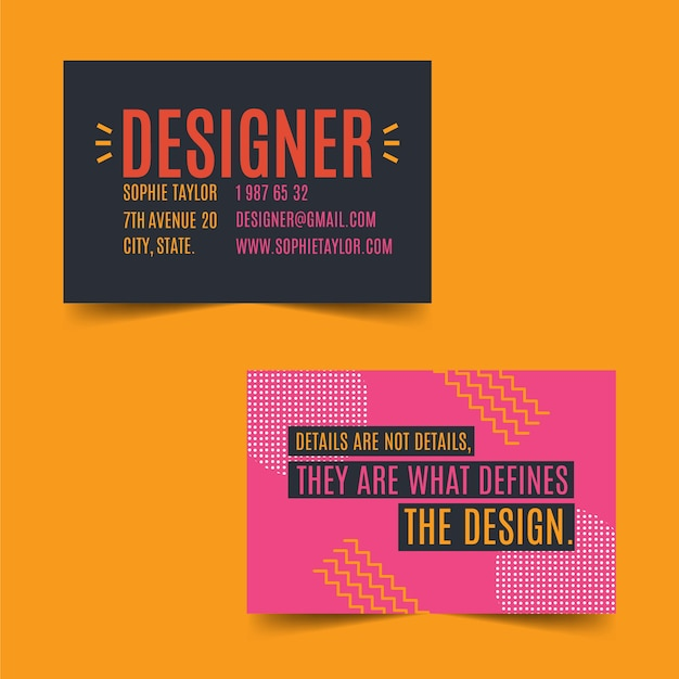 Funny graphic designer business card template Free Vector
