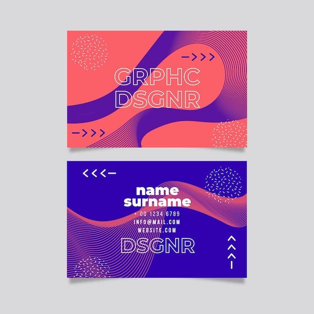 Прикольный графический шаблон визитной карточки Бесплатные векторы