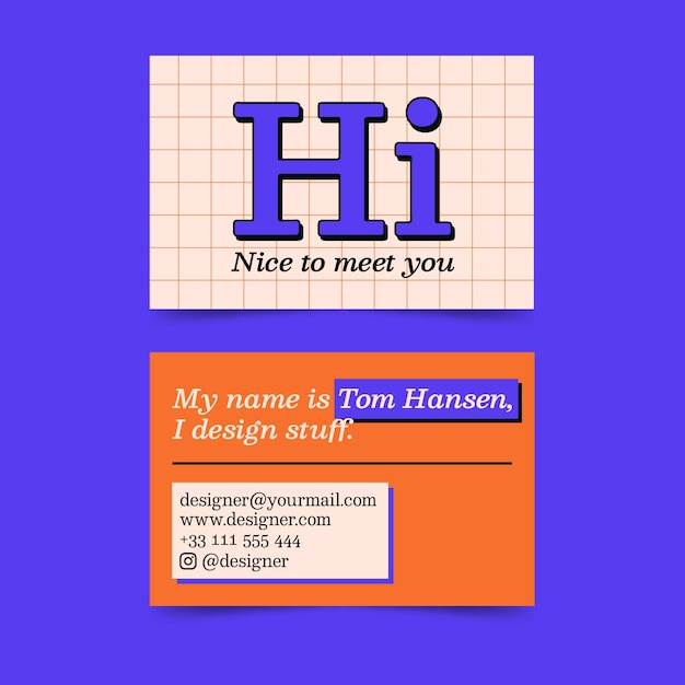 面白いグラフィックデザイナーの名刺テンプレート 無料ベクター