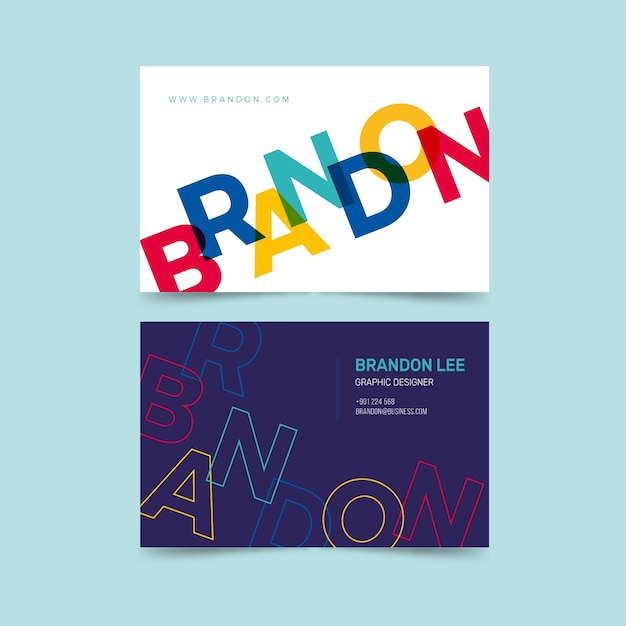 Funny graphic designer business card theme Free Vector