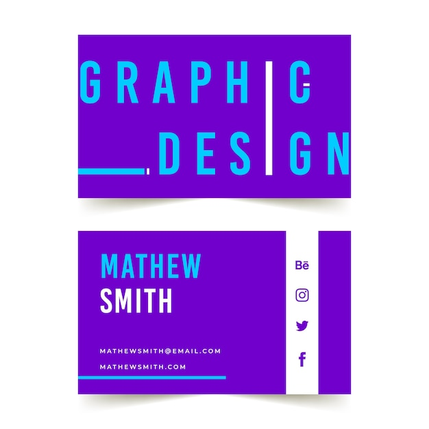 Funny graphic designer business card Free Vector