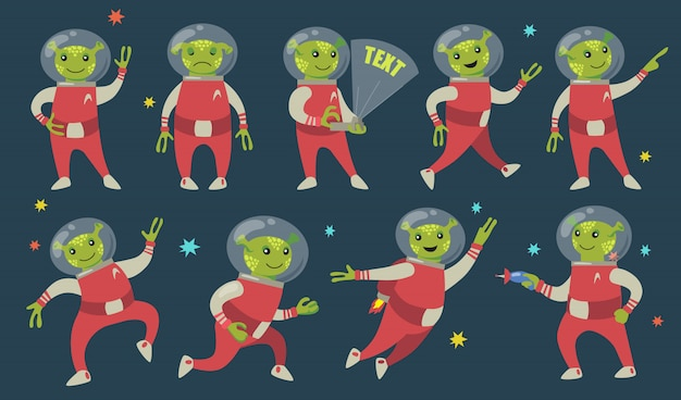 Забавные зеленые инопланетяне плоский набор иконок Бесплатные векторы