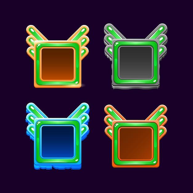 게임 Ui 자산 요소에 대한 재미있는 Gui 다채로운 나무와 젤리 프레임 테두리 템플릿 프리미엄 벡터