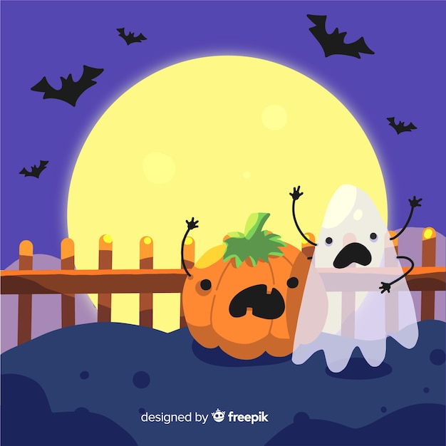 Funny halloween background in flat design Free Vector