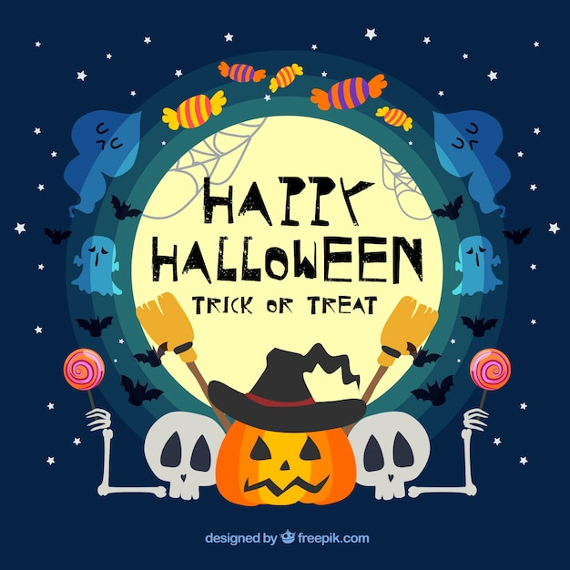 funny halloween background with celebration elements vector free