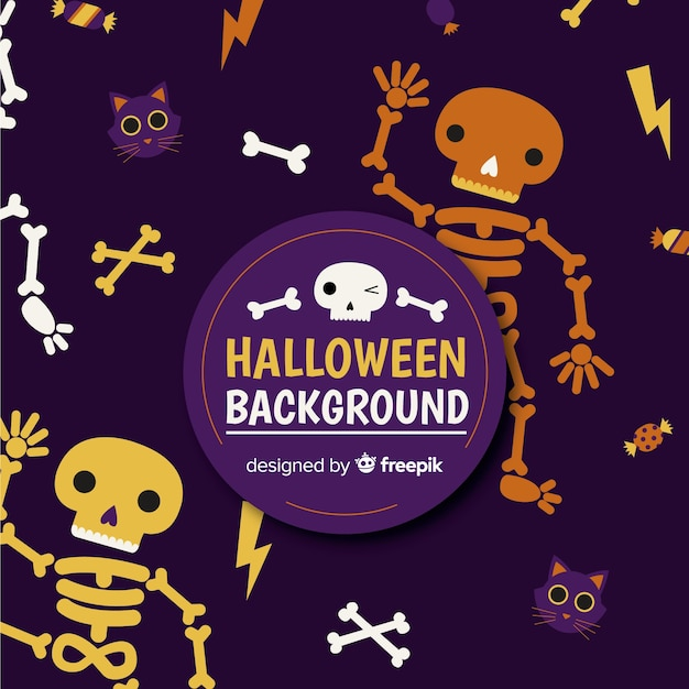 funny halloween background with flat design vector free download