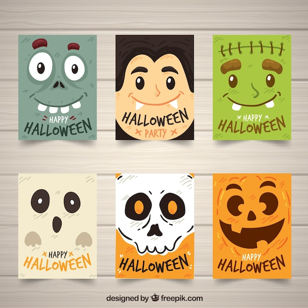 Funny halloween cards collection Free Vector