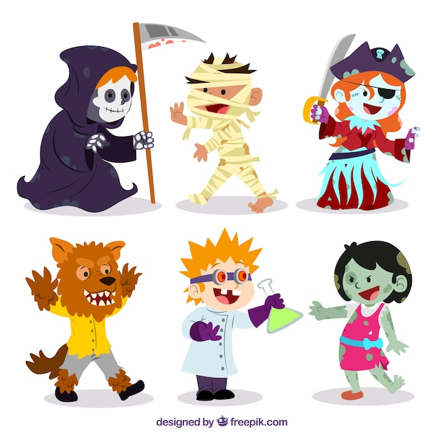 Funny halloween characters Vector | Free Download