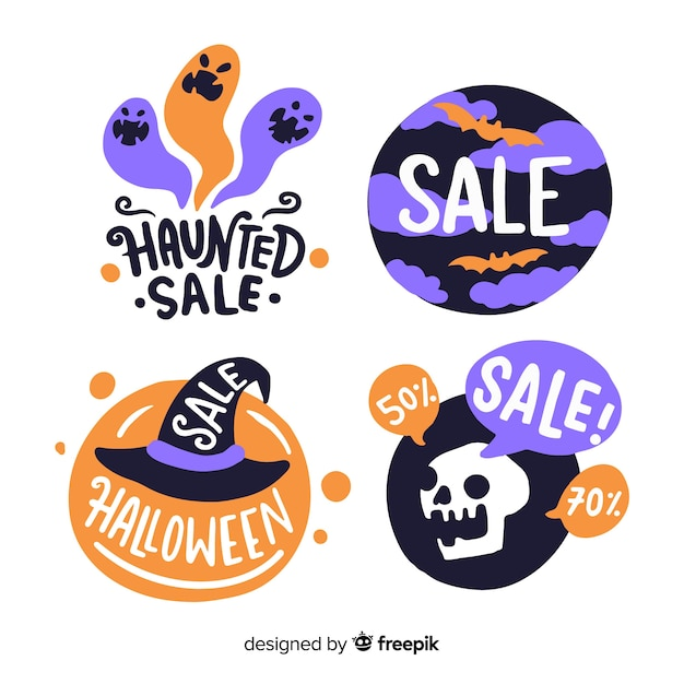 Funny halloween creatures for sale label collection Free Vector