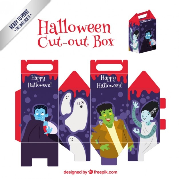 Funny halloween cut out box Premium Vector