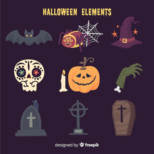 Funny halloween elements collection Free Vector
