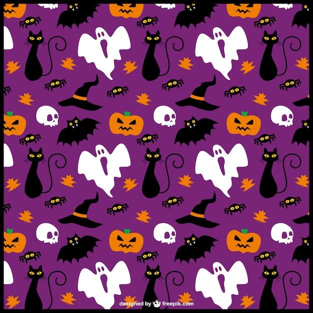 Funny halloween items editable pattern Free Vector