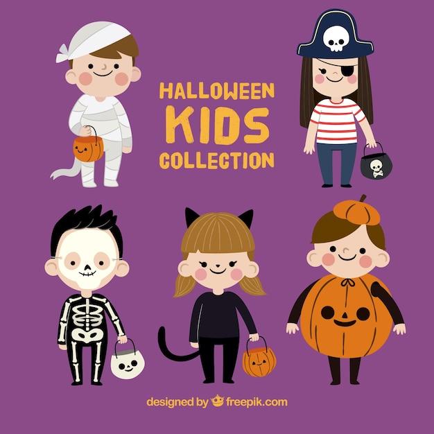 Funny halloween kids collection Premium Vector