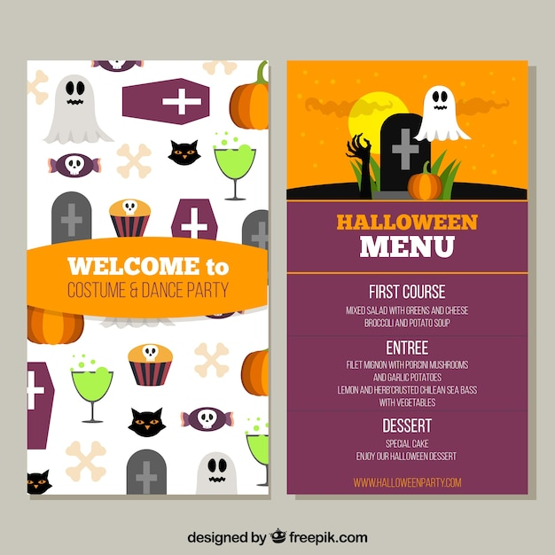 Funny halloween menut with flat design Free Vector
