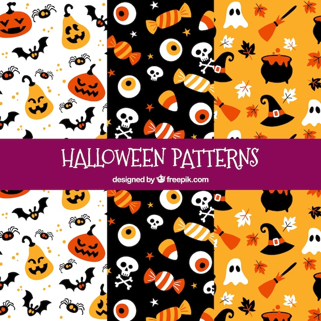Funny halloween patterns with elements Vector | Free Download