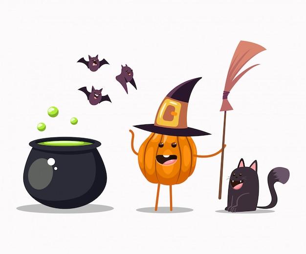 빗자루, 가마솥, 검은 고양이, 박쥐와 마녀 의상에서 재미있는 할로윈 호박 캐릭터. 벡터 만화 일러스트 절연입니다. 프리미엄 벡터