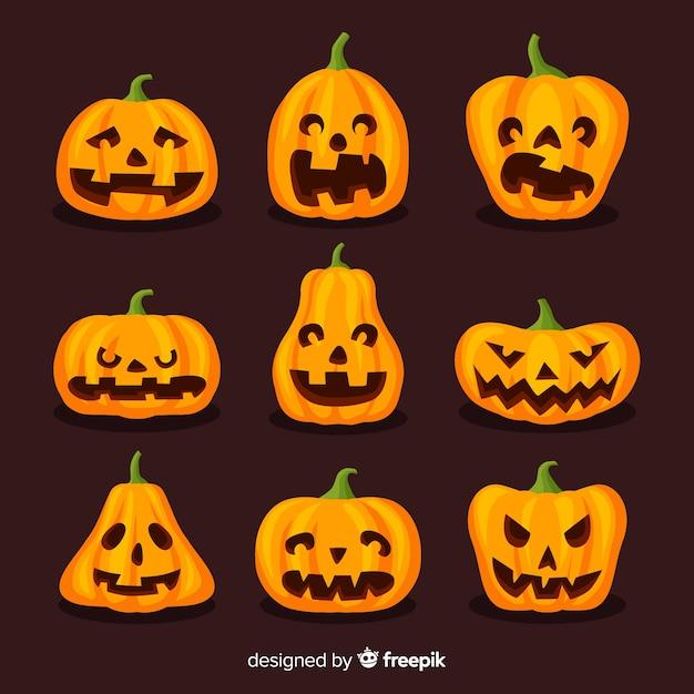 Funny halloween pumpkins on flat design Free Vector