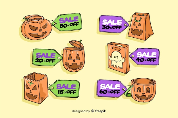 Funny halloween pumpkins for sale badge collection Free Vector