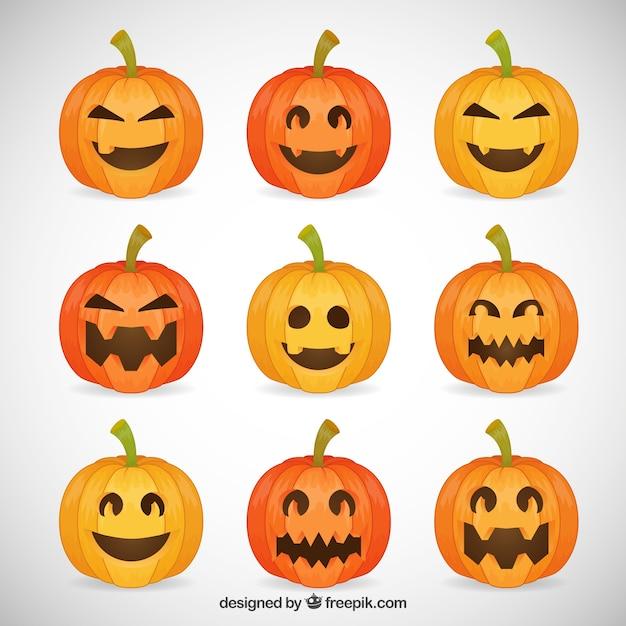 funny halloween pumpkins vector | free download