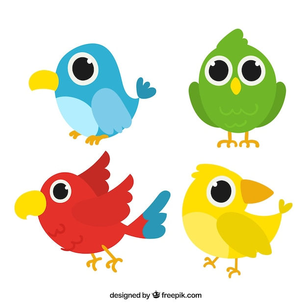 Funny hand drawn bird collection Free Vector
