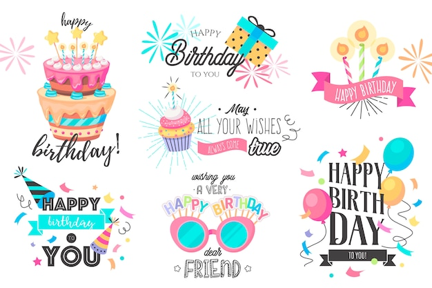 Funny hand drawn birthday collection Free Vector