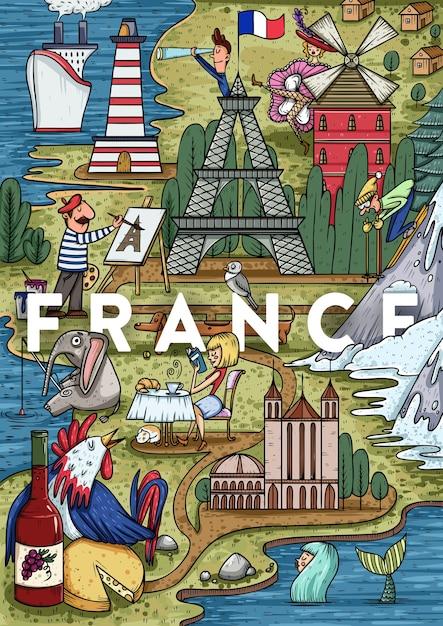 興味のある最も人気のある場所で面白い手描き漫画フランスの地図。ベクトルイラスト Premiumベクター