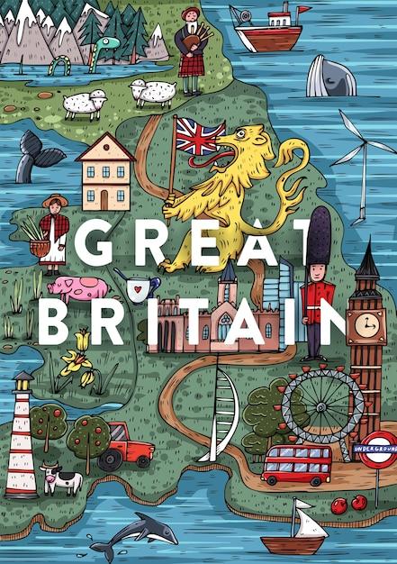 Забавная рисованная мультяшная карта великобритании с самыми популярными достопримечательностями. векторная иллюстрация Premium векторы
