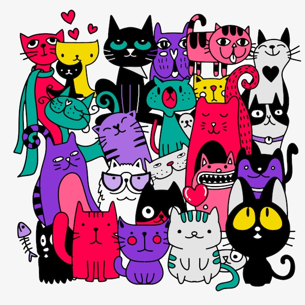 Funny hand drawn cats. animals illustration with adorable kittens doodle Premium Vector