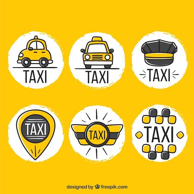 Смешные руки обращается логотипы для компаний такси Бесплатные векторы