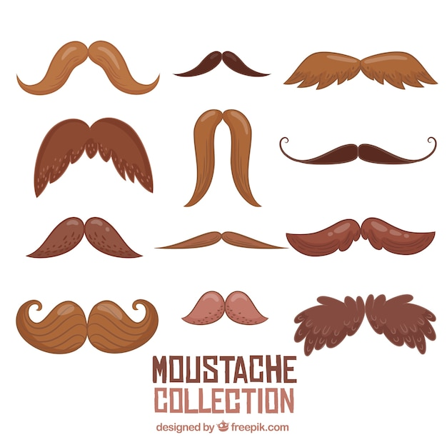 Funny hand drawn mustache collection