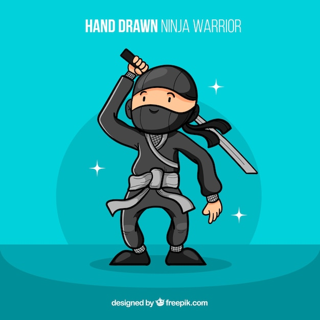 Funny hand drawn ninja warrior