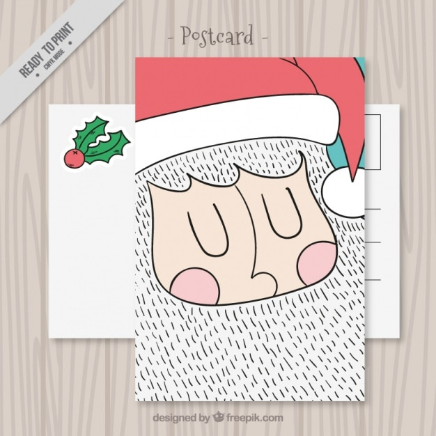 Funny hand drawn santa claus postcard